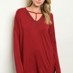 Love Riche Red T-collar high Low Long sleeve Tunic
